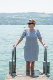 Lynette Jackson is standing at the Lake Zurich