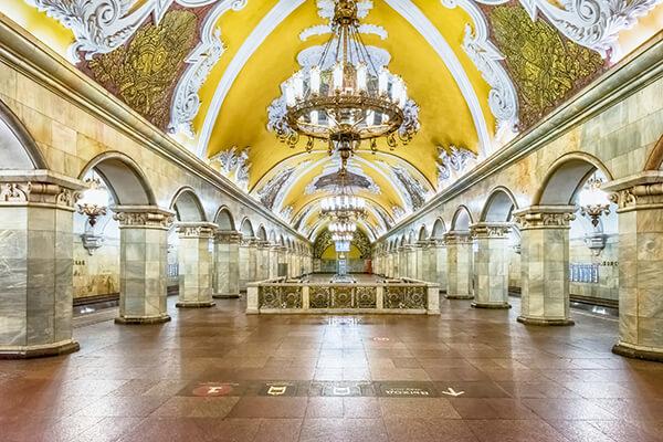 Metro-Station Komsomolskaja in Moskau, Russland