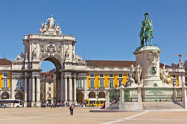 Lissabon, Portugal, Torbogen, Statue, Stadt