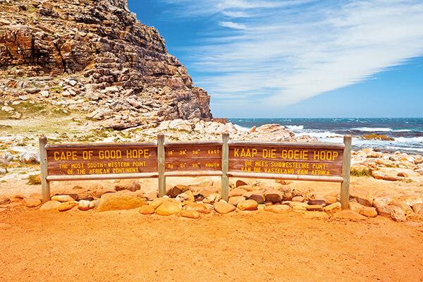 Ortsschild am Kap der Guten Hoffnung, Südafrika