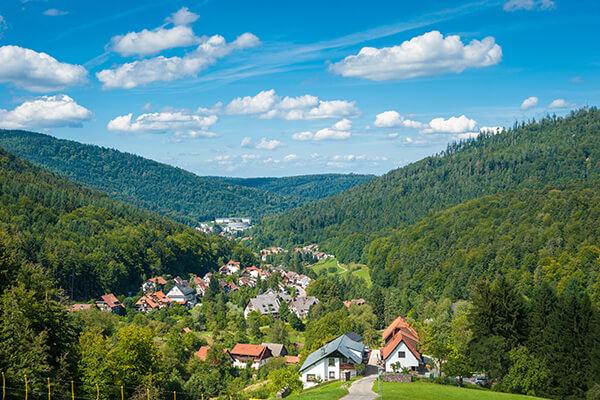 Blick auf Bad Herrenalb im Schwarzwald