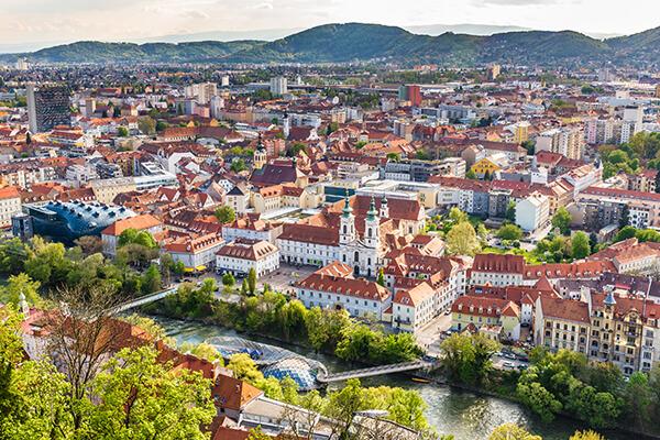 Stadtansicht von Graz in der Steiermark