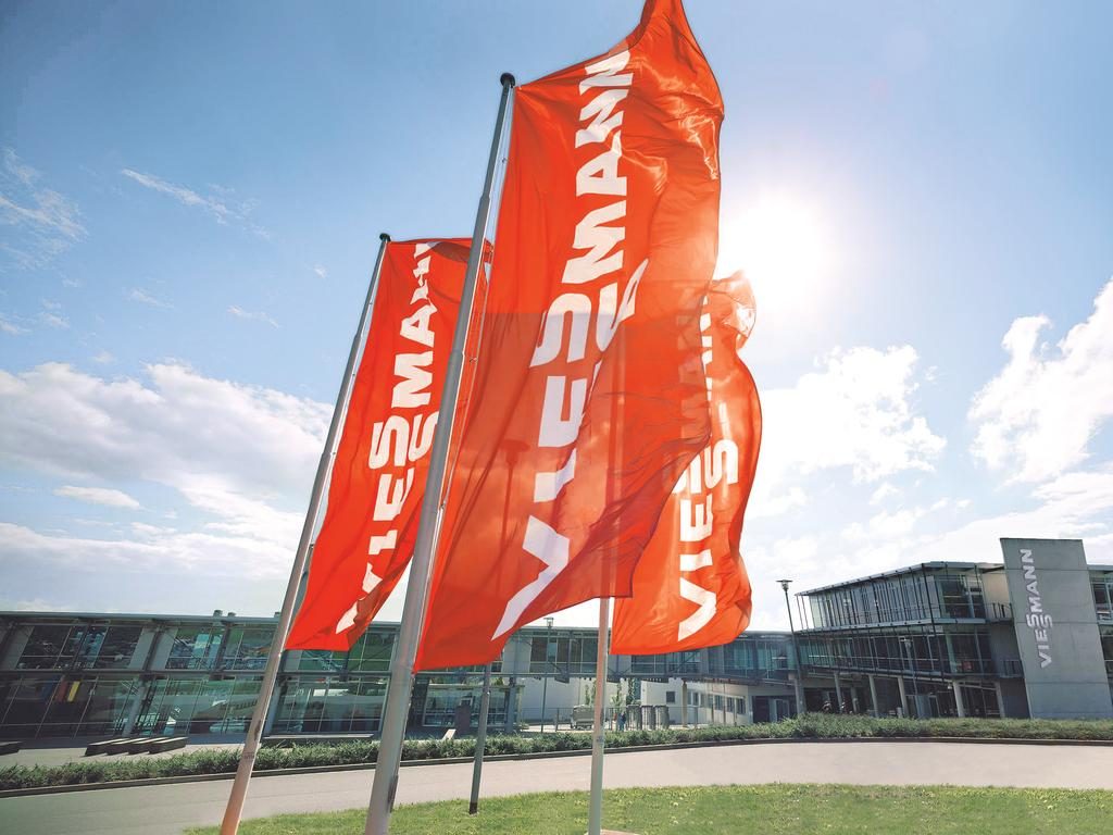 Viessmann flags blowing in the wind