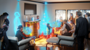 3D generated image of a living room in the future with hologram people and a christmas tree