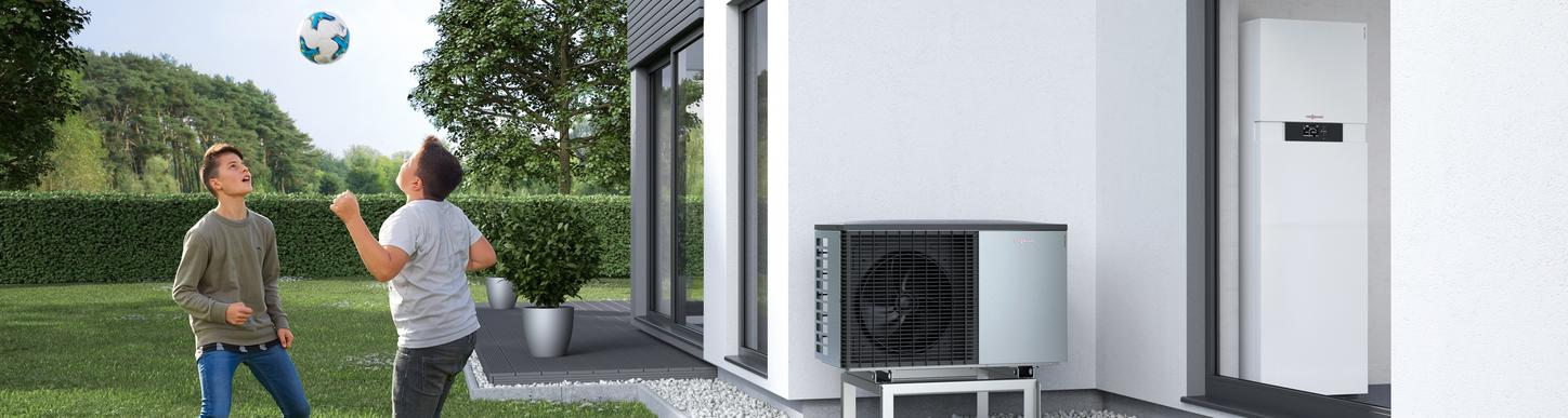 A heat pump heating system in a family home