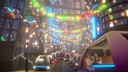 Modern city lit up with lights and futuristic cars