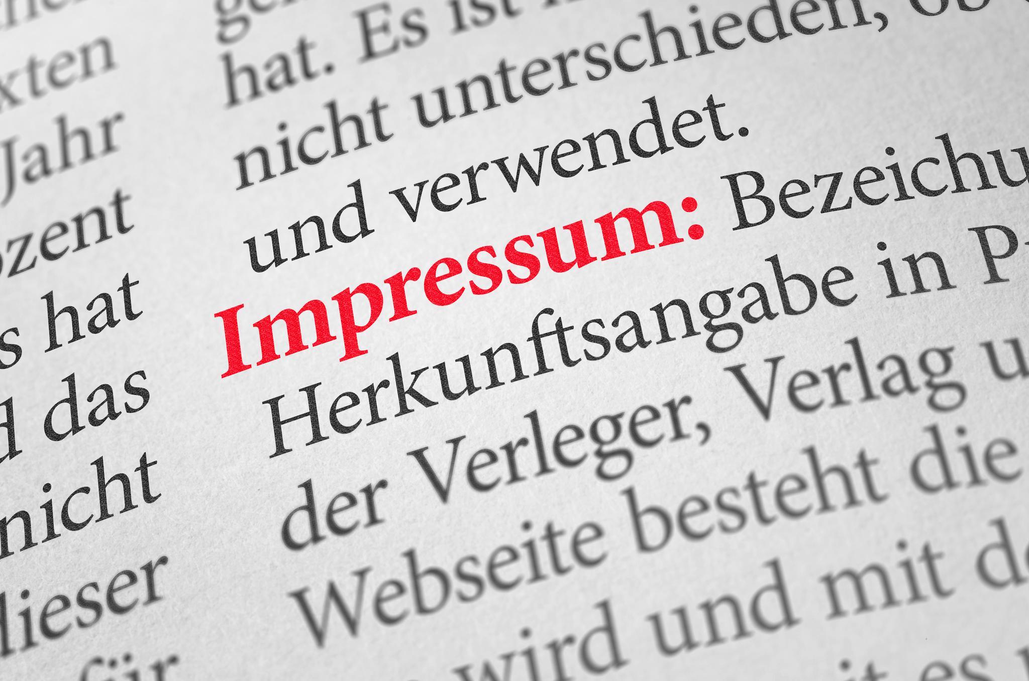 """Eintrag """"Impressum"""" in einem Wörterbuch"""