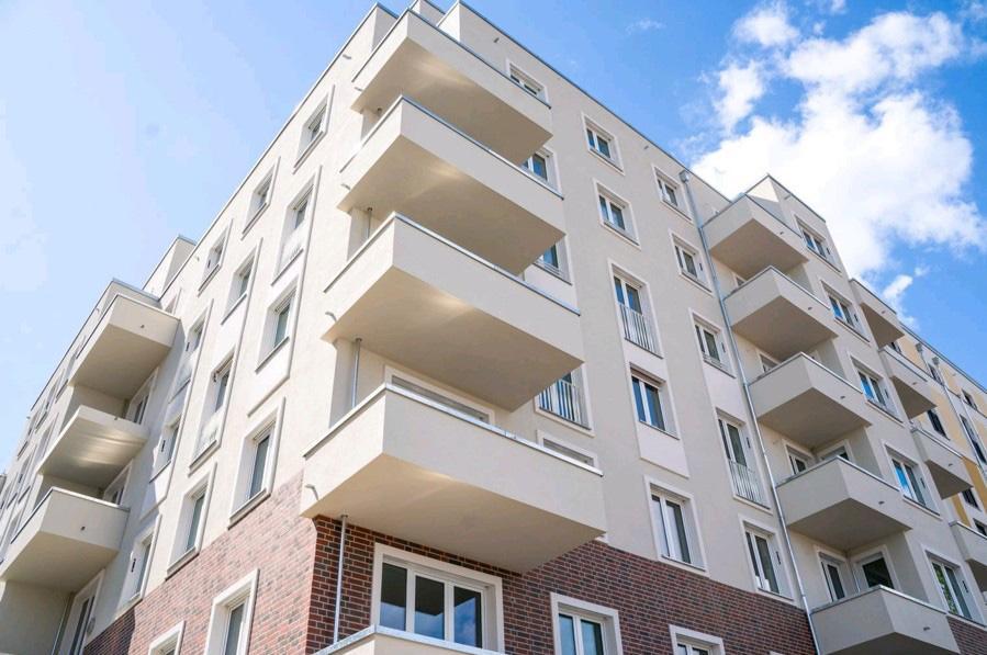 Neugebautes Wohnhaus im Quartier Berlin-Südkreuz