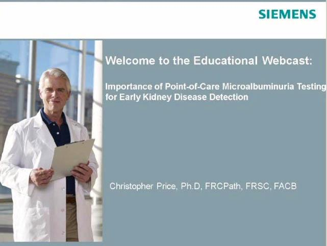 Christopher Price Webinar Kidney Disease Detection