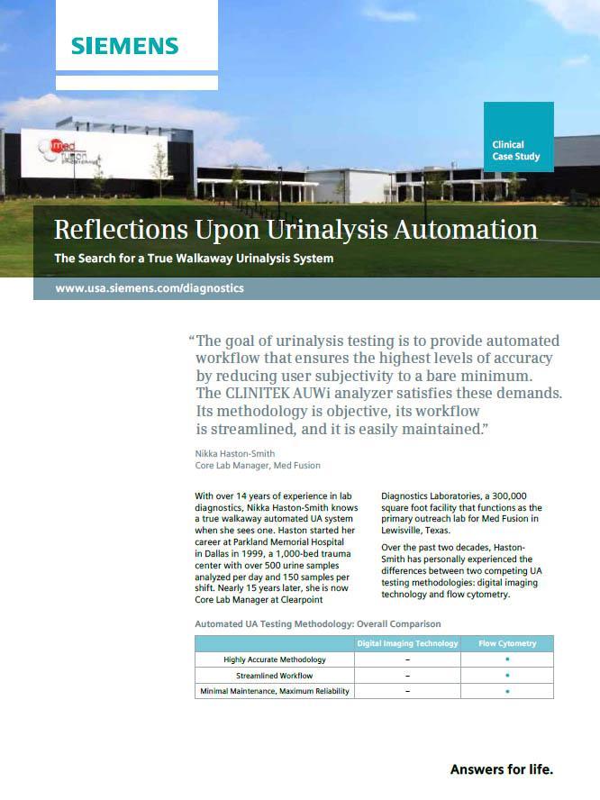 reflections upon urinalysis automation