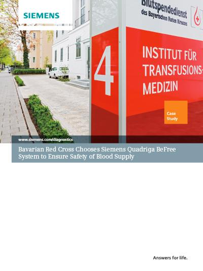 Bavarian Red Cross Chooses Siemens Quadriga BeFree System to Ensure Safety of Blood Supply