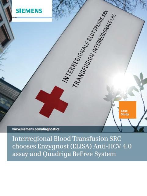 Interregional Blood Transfusion SRC chooses Enzygnost (ELISA) Anti-HCV 4.0 assay and Quadriga BeFree System