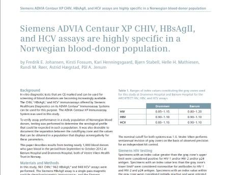ADVIA Centaur® XP CHIV, HBsAgII, and HCV assays are highly specific in Norwegian blood-donors