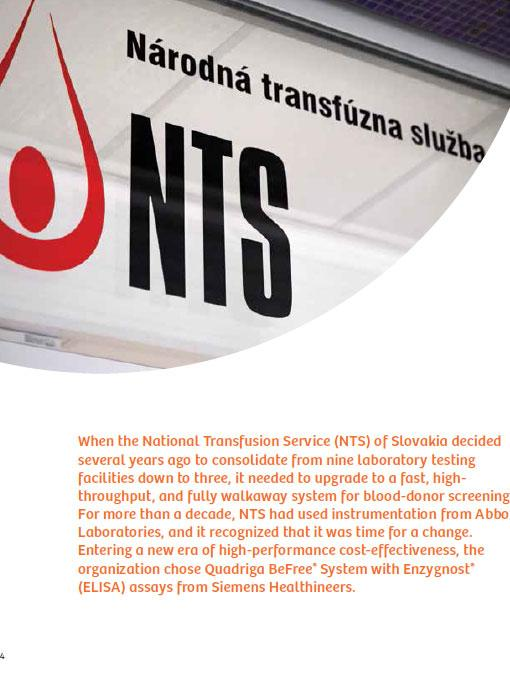 National Transfusion Service of Slovakia chooses the Quadriga BeFree System, Enzygnost (ELISA) Assays