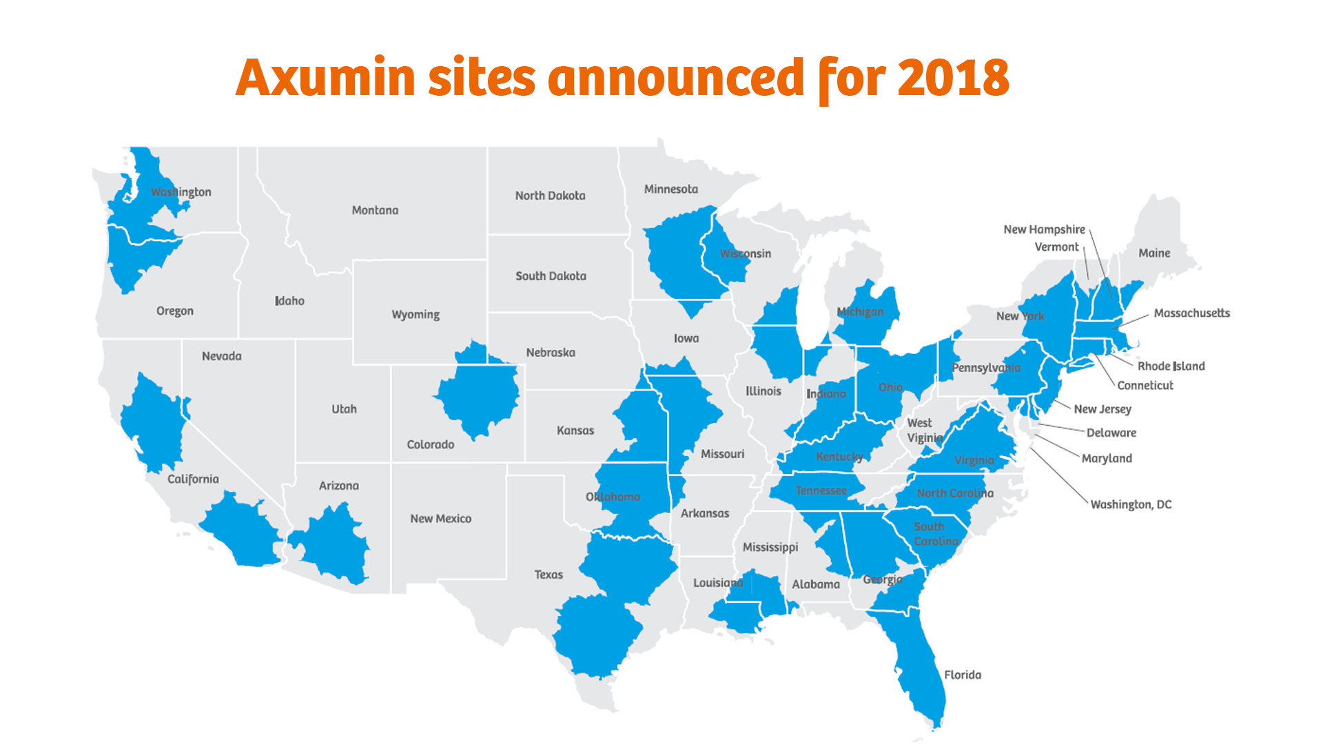 Axumin sites announced for 2018 in the US.
