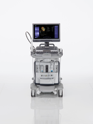 Side view of the ACUSON SC2000 PRIME cardiovascular ultrasound system