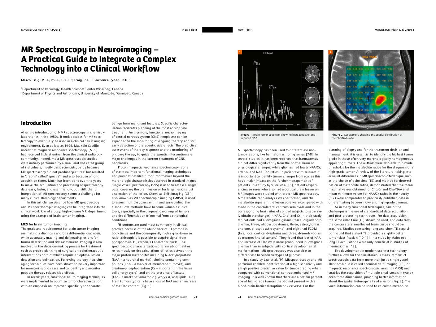 How-I-do-it: MRS in Neuroimaging – A Guide to Integrate a Complex Technology into Clinical Workflow