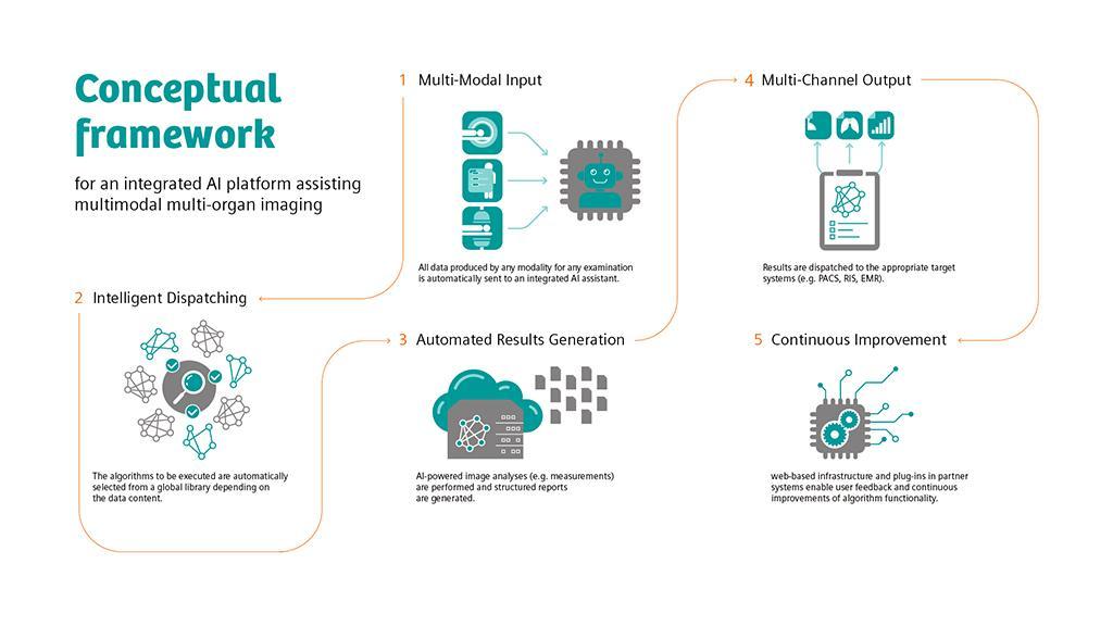 View the framework for an integrated AI platform assisting multi-modal, multi-organ imaging.