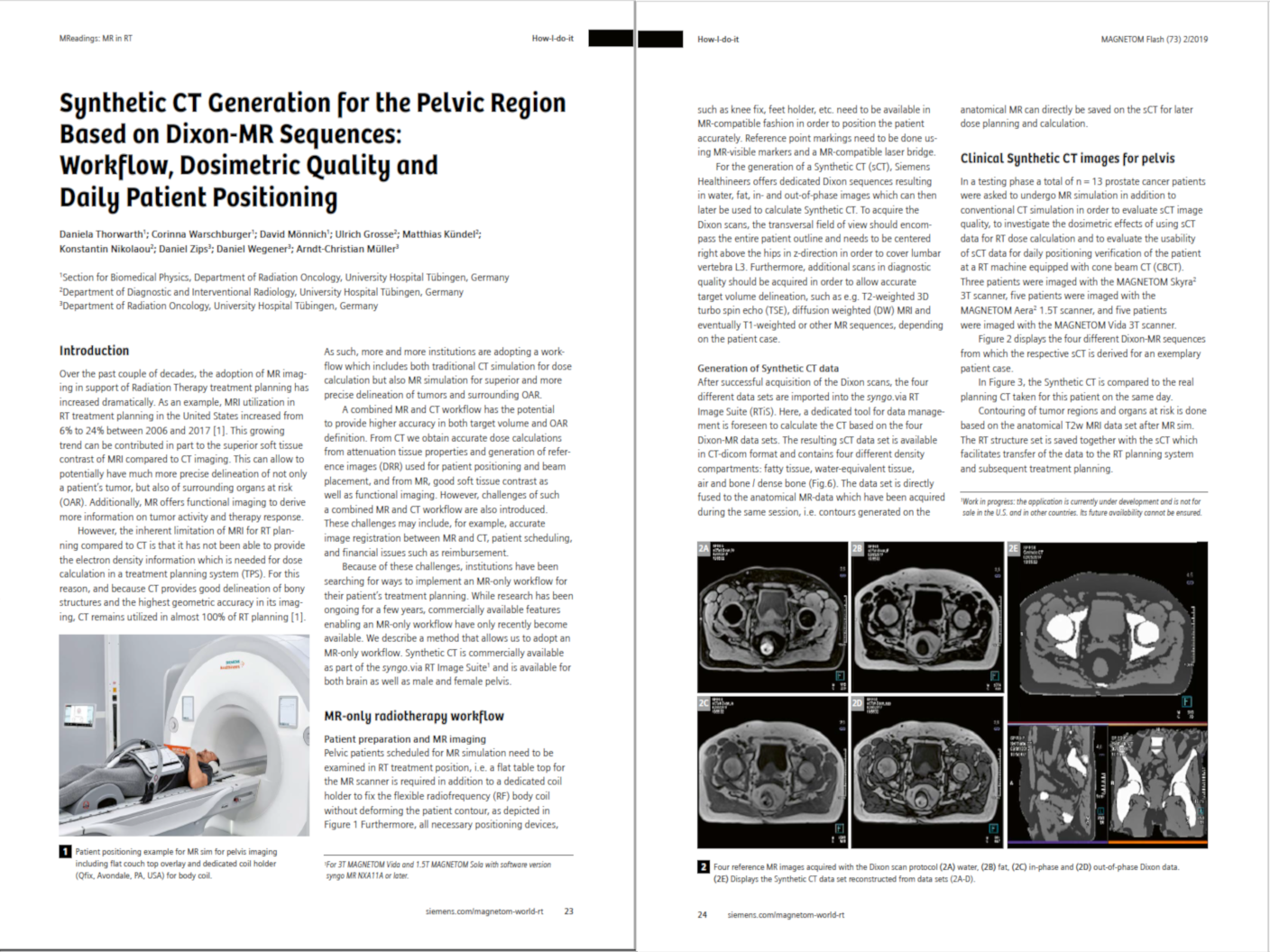 Synthetic CT Generation for the Pelvic Region Based on Dixon-MR Sequences