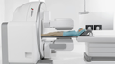 Female patient positioned on Symbia Intevo scanner bed