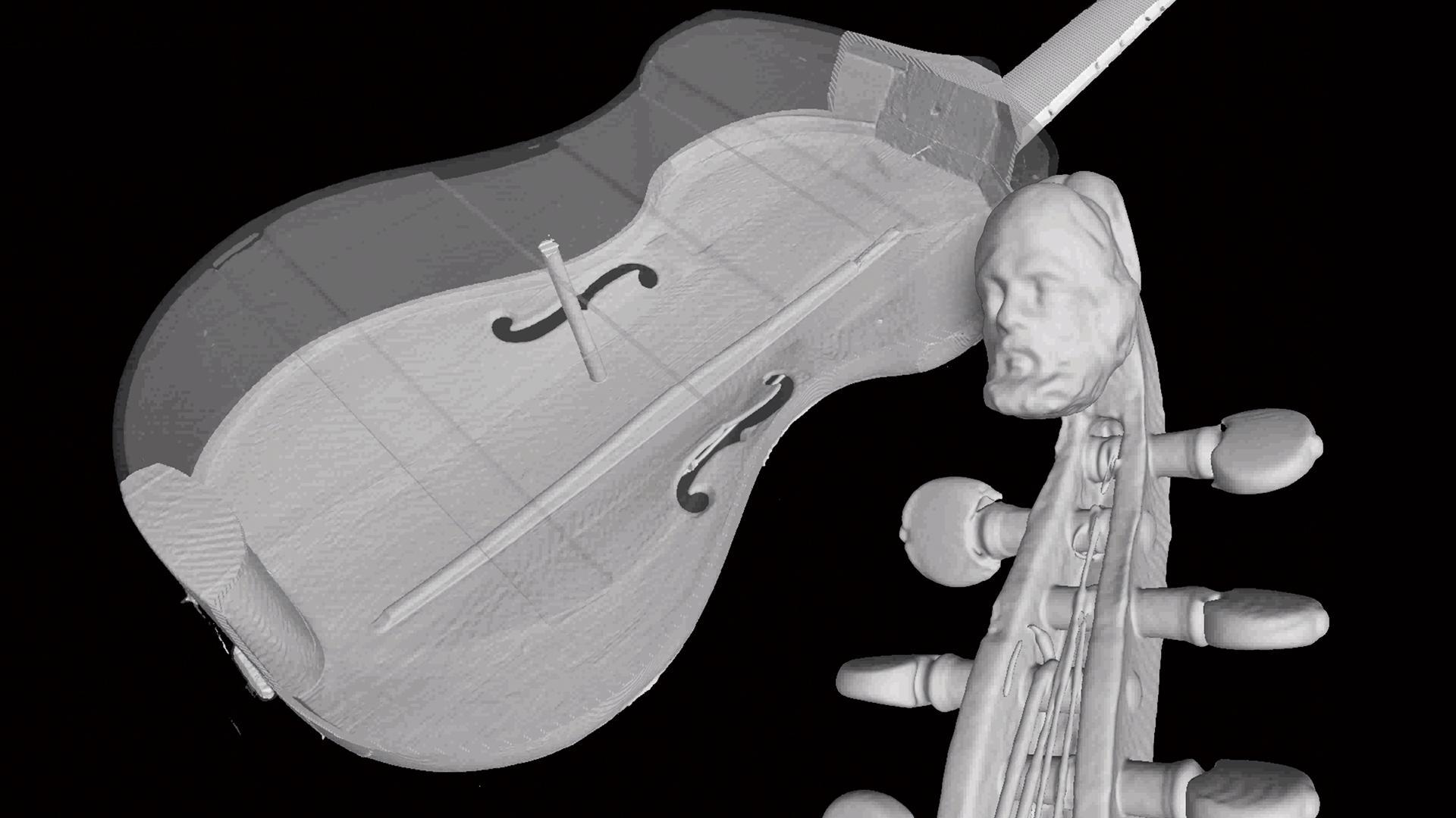 「楽器CT検査基準」(MUSICES)プロジェクトの一環として、このヴィオラ・ダ・ガンバのような100を超える歴史的な名楽器がスキャンされました。