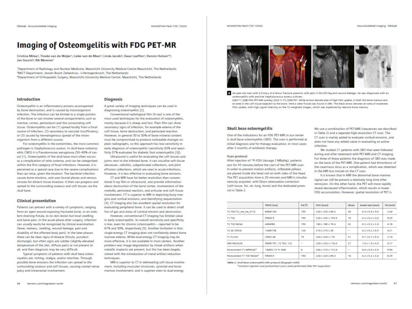 preview of the article Imaging of Osteomyelitis with FDG PET-MR