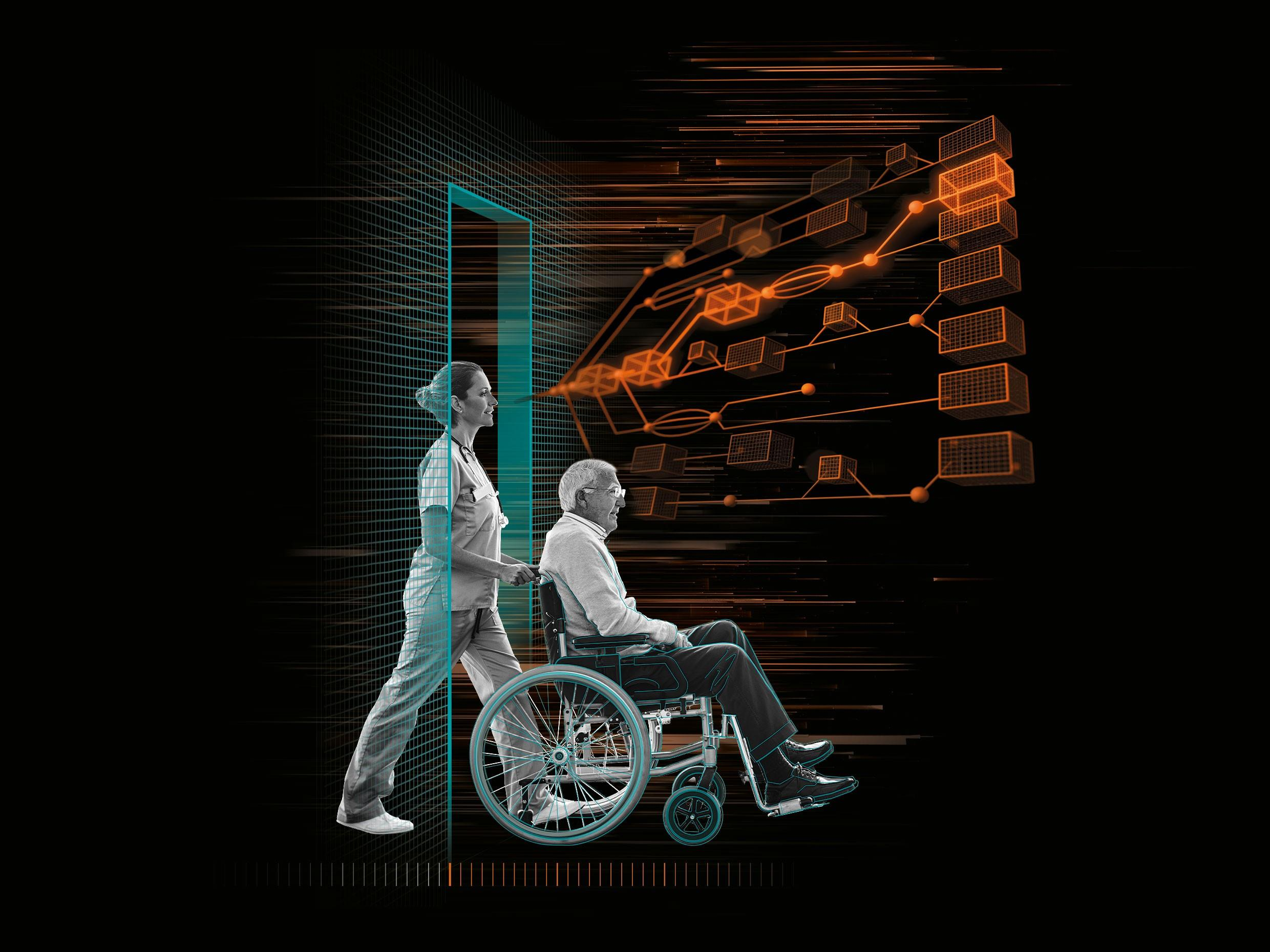 Man in a wheelchair being pushed by medical staff
