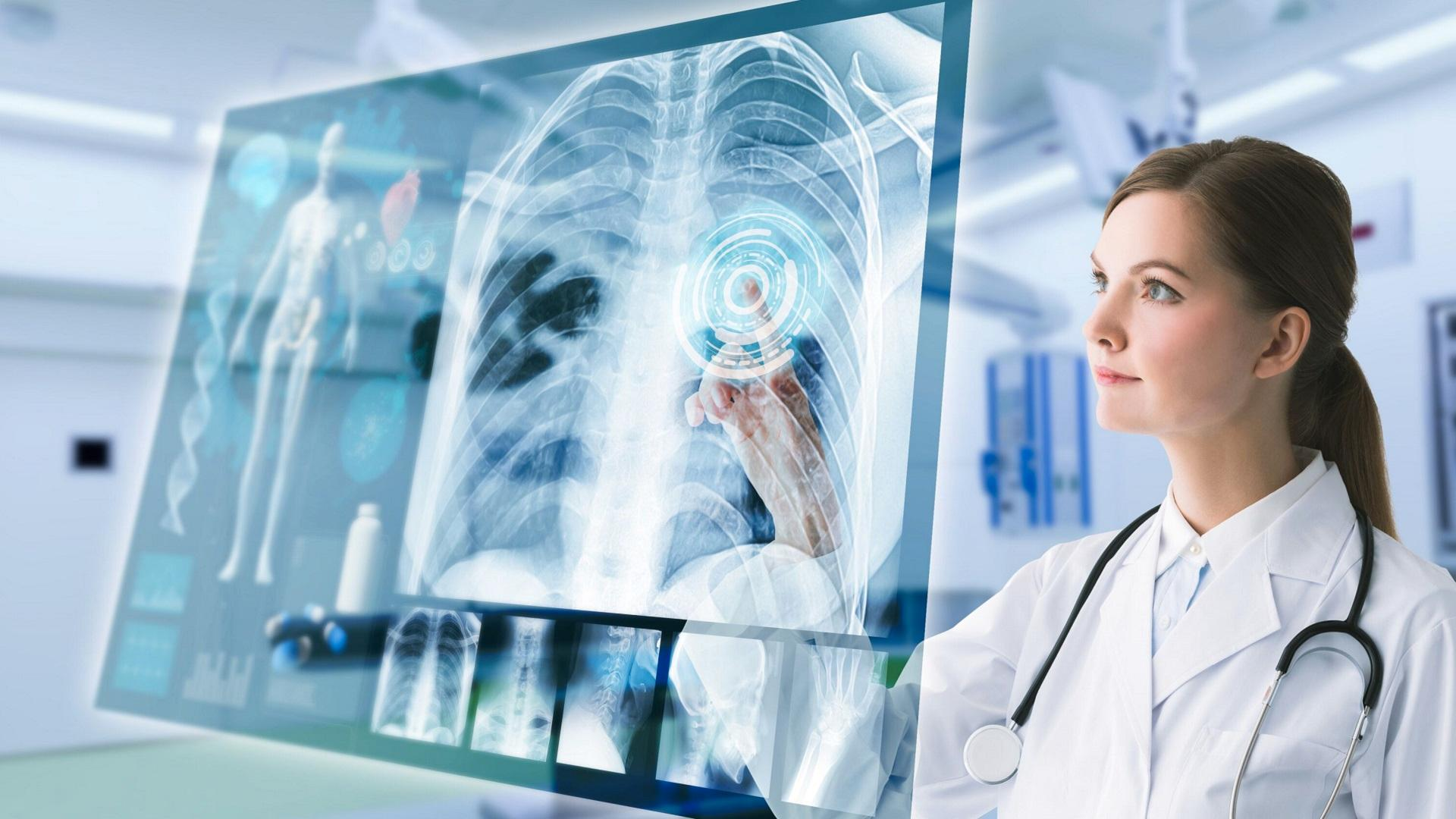 futuristic situation of a doctor in front of a chest scan, radiology, ai-assisted diagnosis