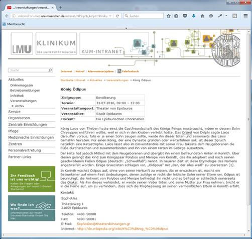 Veranstaltungdetailseite auf der Intranet Portalwebseite