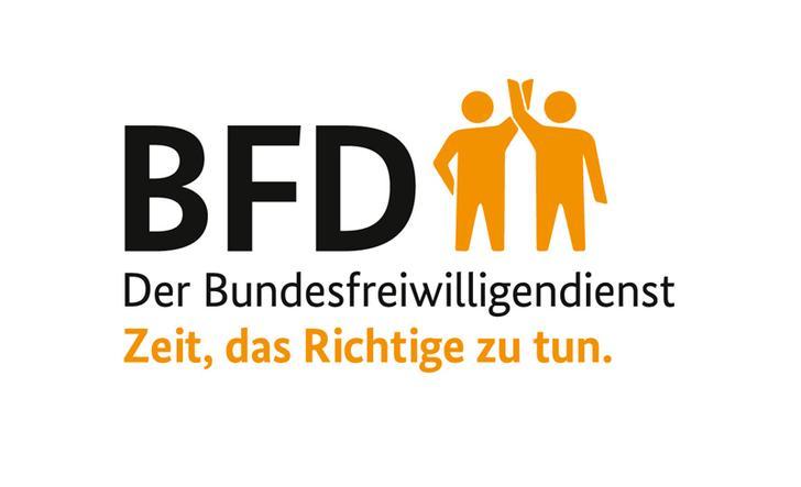 """Logo Bundesfreiwilligendienst mit Slogan """"Zeit, das Richtige zu tun."""