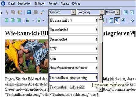 Textumfluss um Bild