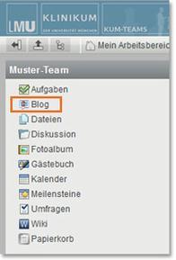 KUM-Teams Arbeitsbereich Blog