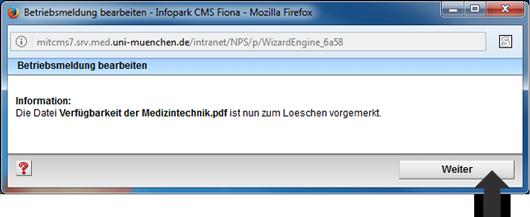 Betriebsmeldung Eingabeassistent Download löschen