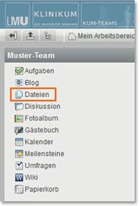 KUM-Teams Arbeitsbereich Dateien