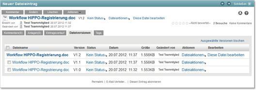 KUM-Teams Dateiversionen