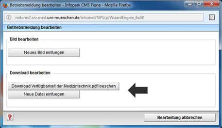 Betriebsmeldung Eingabeassistent Download ändern oder löschen
