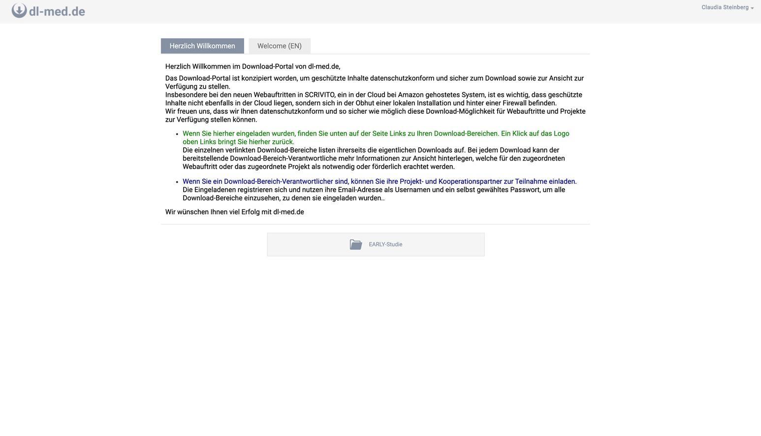 Allgemeine Infoseite mit der Ansicht der Download-Areas für die man berechtigt ist