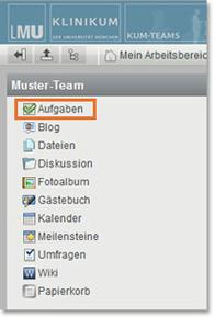 KUM-Teams Arbeitsbereich Aufgaben