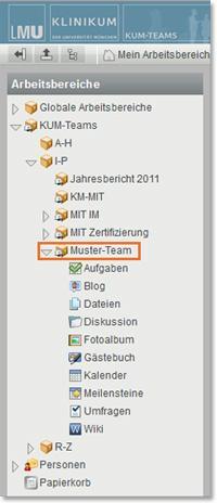 KUM-Teams Übersicht Arbeitsbereiche