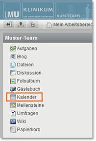 KUM-Teams Arbeitsbereich Kalender