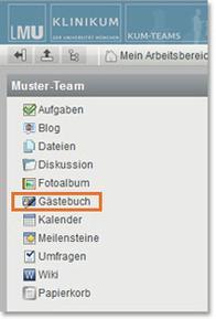 KUM-Teams Arbeitsbereich Gästebuch