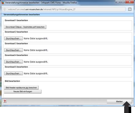 Veranstaltung Eingabeassistent Download bearbeiten