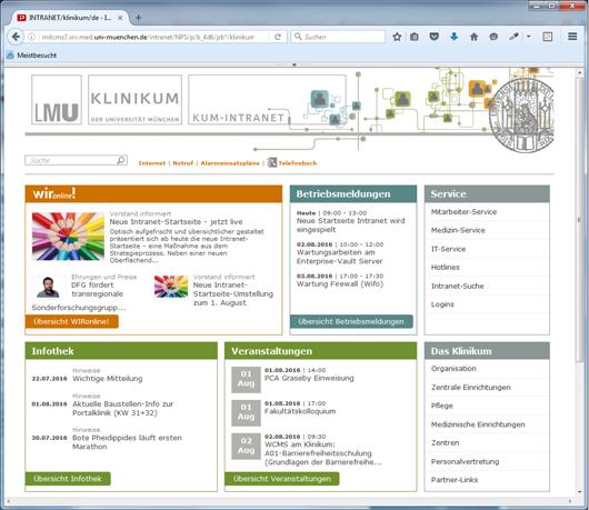 Startseite Intranet Portalwebseite