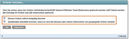 KUM-Teams Ordner löschen