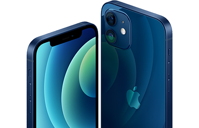 Apple iPhone 12 in blau aus 2 Perspektiven