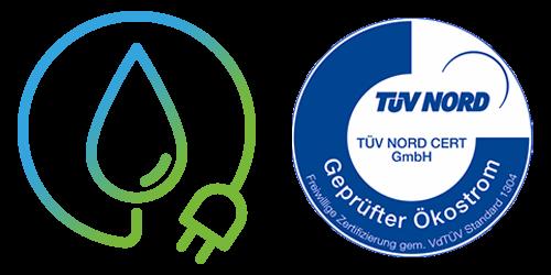 100% Ökostrom aus Wasserkraft - TÜV Nord zertifiziert