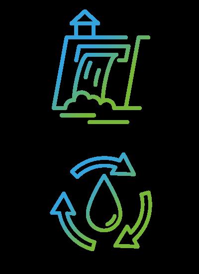 Grafik Wasserkraftwerk und Wasserkreislauf