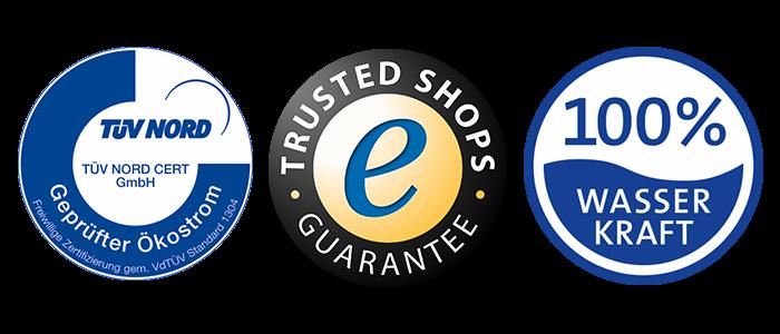 TÜV-, Trusted Shops- und Wasserkraft-Siegel