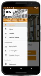 Screenshot der Navigation der MuseumsApp