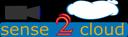 Das Logo des Forschungsprojektes sense2cloud. Sensor-Wellen schwingen auf eine Wolke zu.